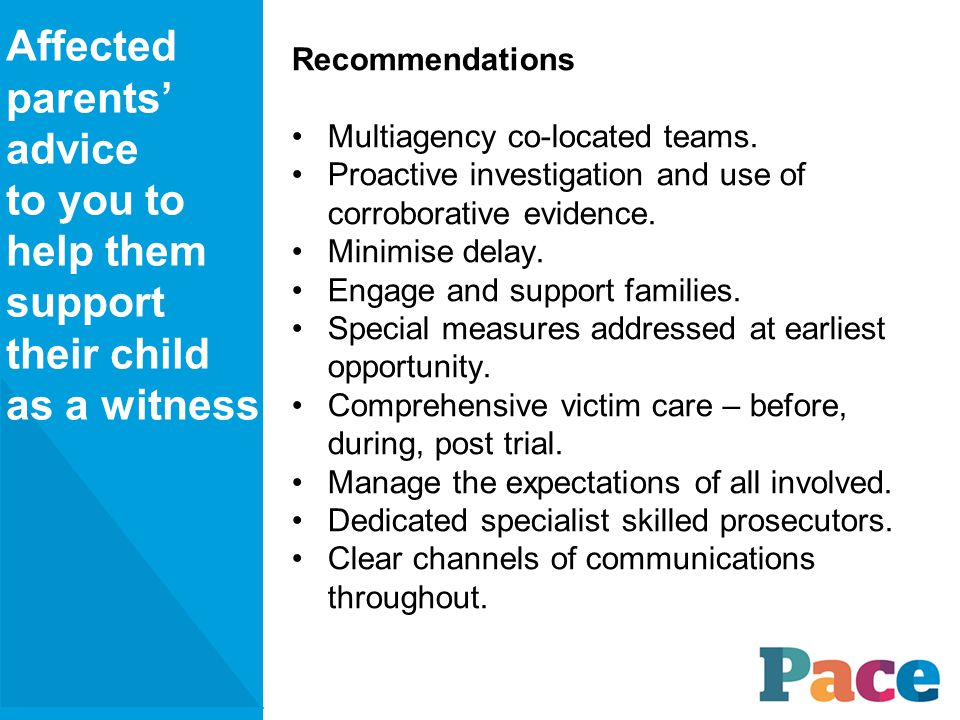 Recommendations Multiagency co-located teams.