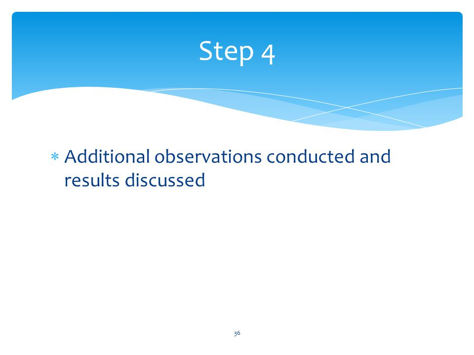  Additional observations conducted and results discussed 36 Step 4