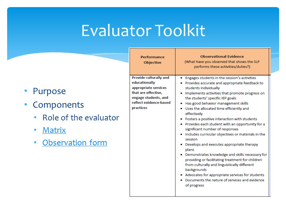 Evaluator Toolkit Purpose Components Role of the evaluator Matrix Observation form