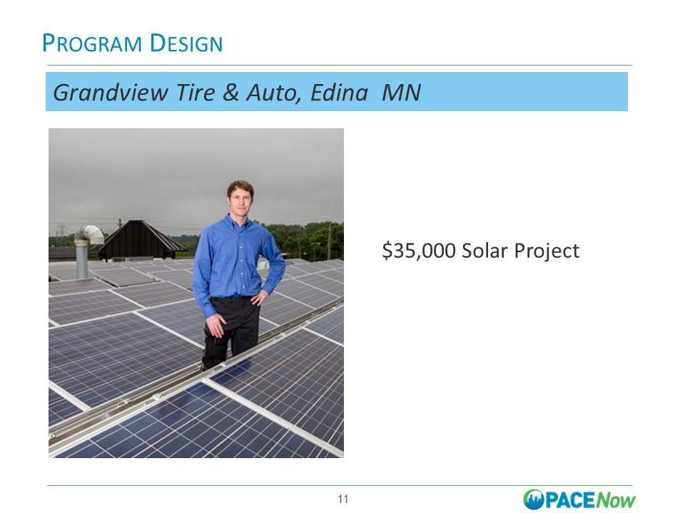 P ROGRAM D ESIGN More is better 11 Grandview Tire & Auto, Edina MN $35,000 Solar Project