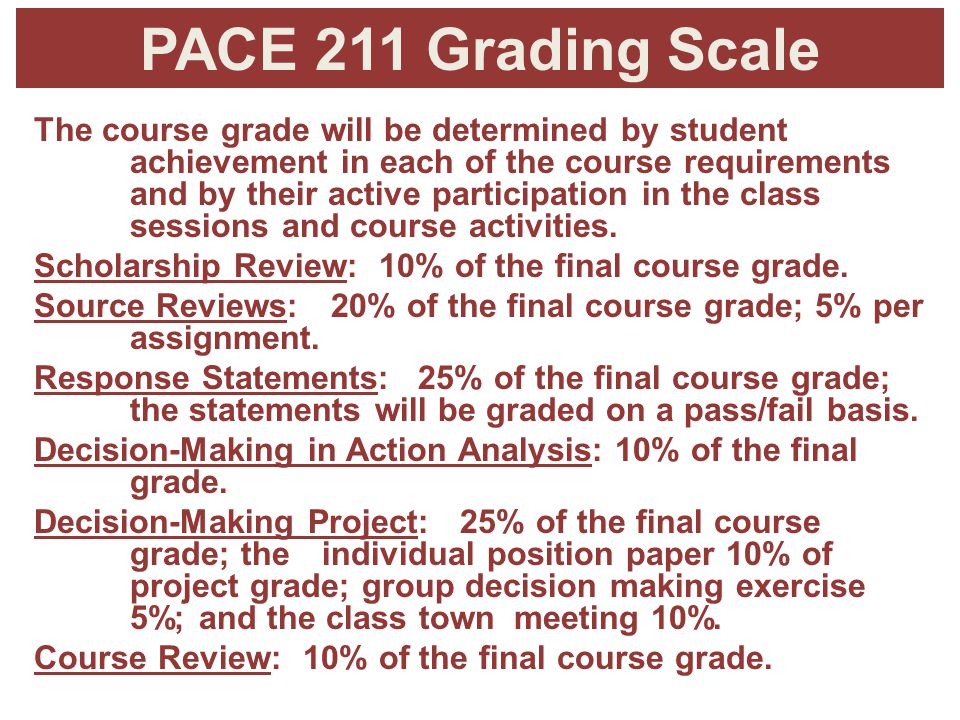 PACE 211 Grading Scale The course grade will be determined by student achievement in each of the course requirements and by their active participation in the class sessions and course activities.