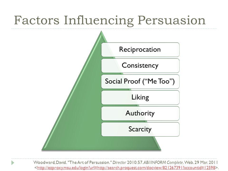 Factors Influencing Persuasion Woodward, David. The Art of Persuasion. Director 2010: 57.