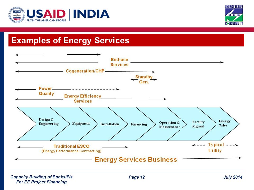 Page 12 July 2014 Capacity Building of Banks/FIs For EE Project Financing Examples of Energy Services