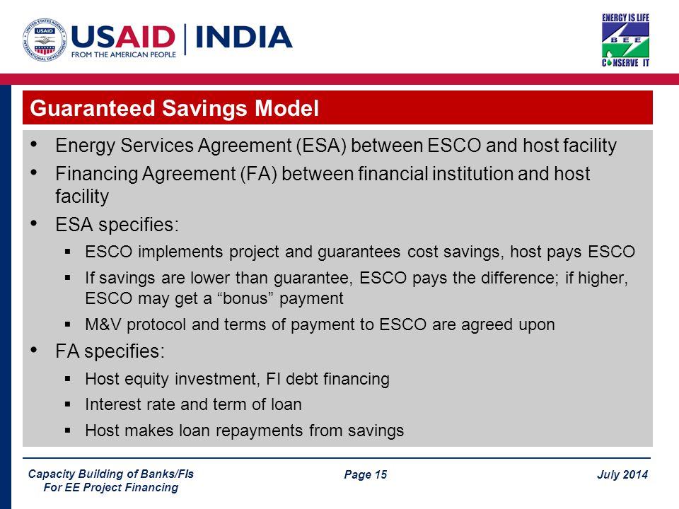 Page 15 July 2014 Capacity Building of Banks/FIs For EE Project Financing Energy Services Agreement (ESA) between ESCO and host facility Financing Agreement (FA) between financial institution and host facility ESA specifies:  ESCO implements project and guarantees cost savings, host pays ESCO  If savings are lower than guarantee, ESCO pays the difference; if higher, ESCO may get a bonus payment  M&V protocol and terms of payment to ESCO are agreed upon FA specifies:  Host equity investment, FI debt financing  Interest rate and term of loan  Host makes loan repayments from savings Guaranteed Savings Model
