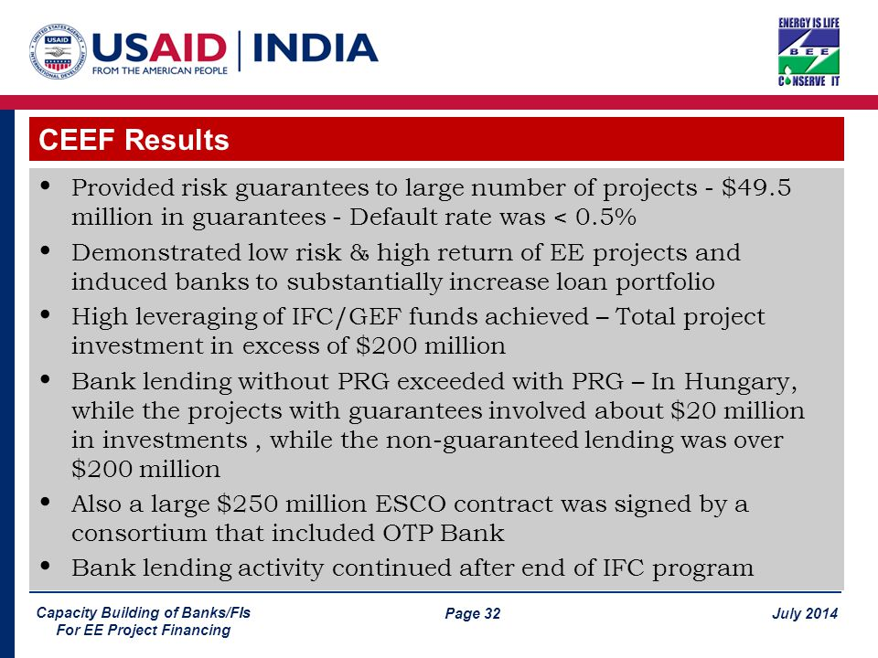 Page 32 July 2014 Capacity Building of Banks/FIs For EE Project Financing Provided risk guarantees to large number of projects - $49.5 million in guarantees - Default rate was < 0.5% Demonstrated low risk & high return of EE projects and induced banks to substantially increase loan portfolio High leveraging of IFC/GEF funds achieved – Total project investment in excess of $200 million Bank lending without PRG exceeded with PRG – In Hungary, while the projects with guarantees involved about $20 million in investments, while the non-guaranteed lending was over $200 million Also a large $250 million ESCO contract was signed by a consortium that included OTP Bank Bank lending activity continued after end of IFC program CEEF Results
