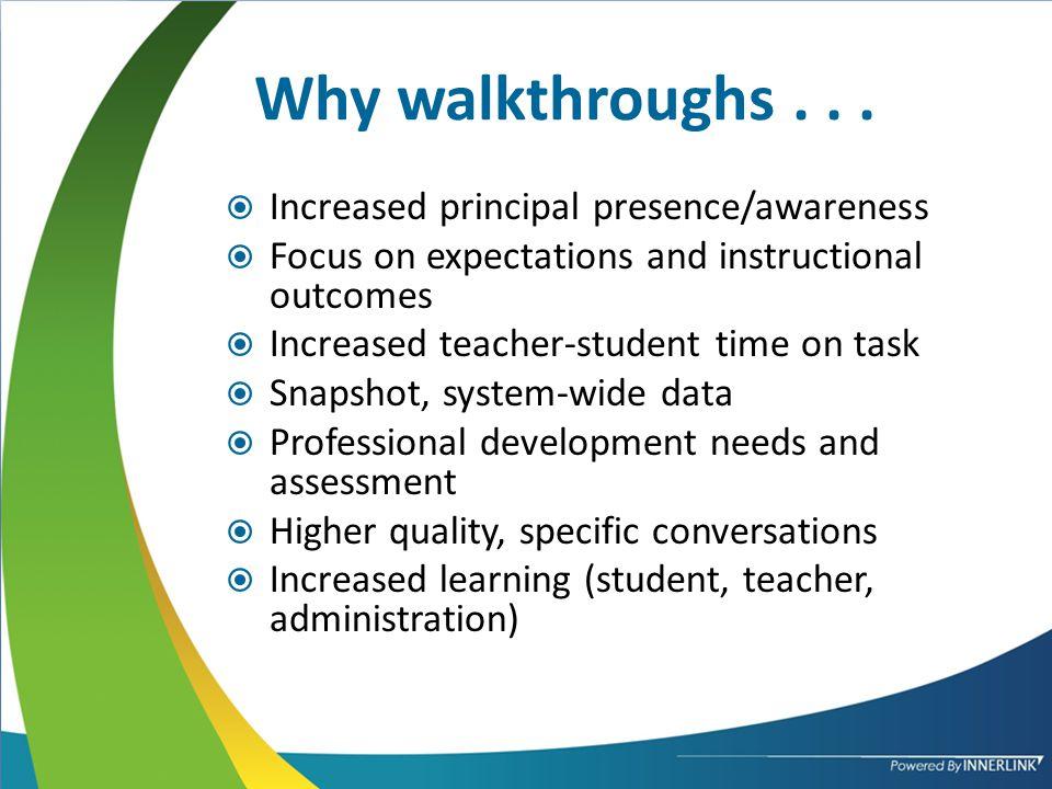 Why walkthroughs...