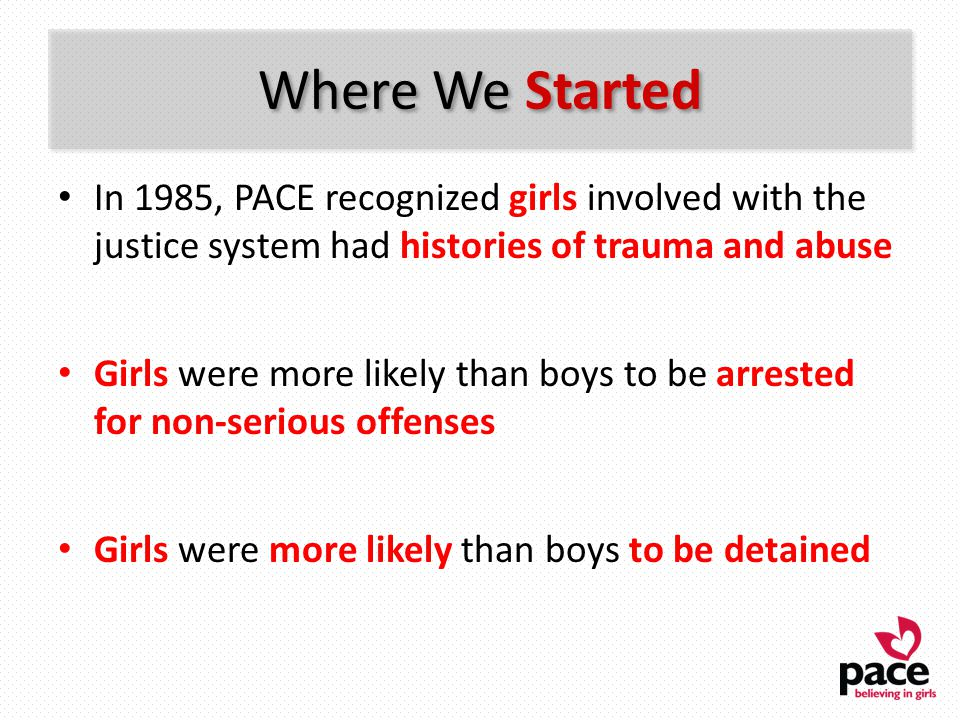 Where We Started In 1985, PACE recognized girls involved with the justice system had histories of trauma and abuse Girls were more likely than boys to