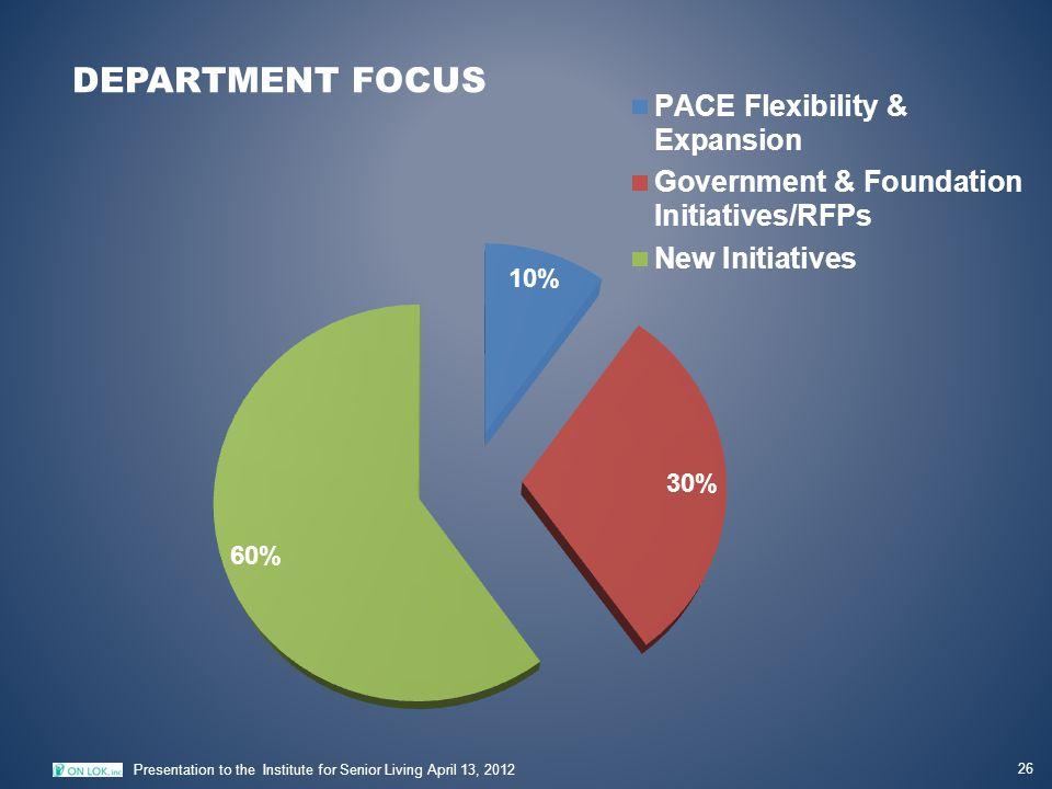 DEPARTMENT FOCUS 26 Presentation to the Institute for Senior Living April 13, 2012