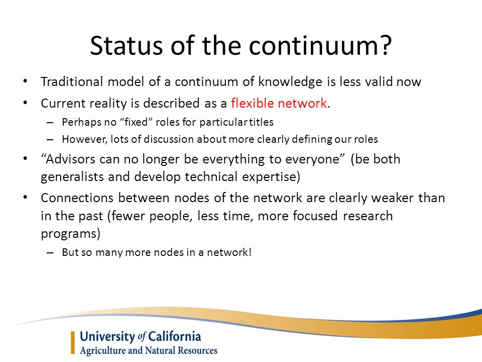 Status of the continuum.