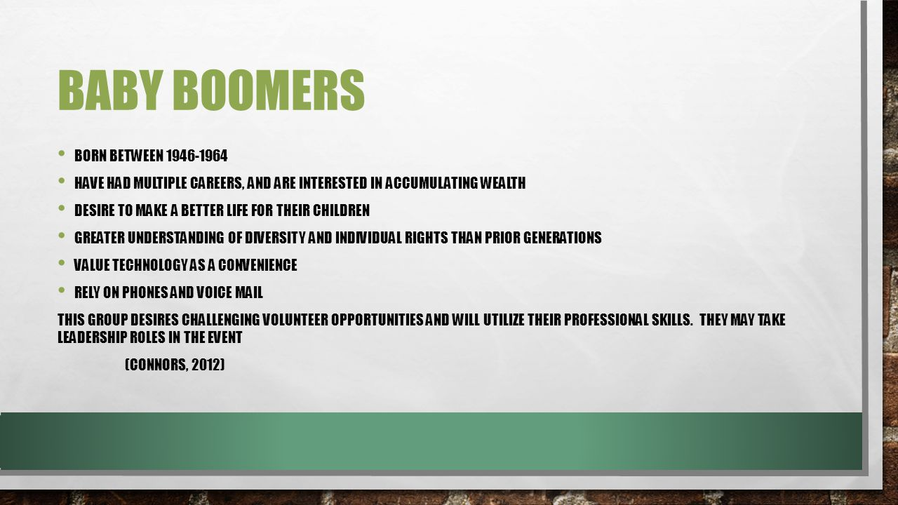 BABY BOOMERS BORN BETWEEN 1946-1964 HAVE HAD MULTIPLE CAREERS, AND ARE INTERESTED IN ACCUMULATING WEALTH DESIRE TO MAKE A BETTER LIFE FOR THEIR CHILDREN GREATER UNDERSTANDING OF DIVERSITY AND INDIVIDUAL RIGHTS THAN PRIOR GENERATIONS VALUE TECHNOLOGY AS A CONVENIENCE RELY ON PHONES AND VOICE MAIL THIS GROUP DESIRES CHALLENGING VOLUNTEER OPPORTUNITIES AND WILL UTILIZE THEIR PROFESSIONAL SKILLS.