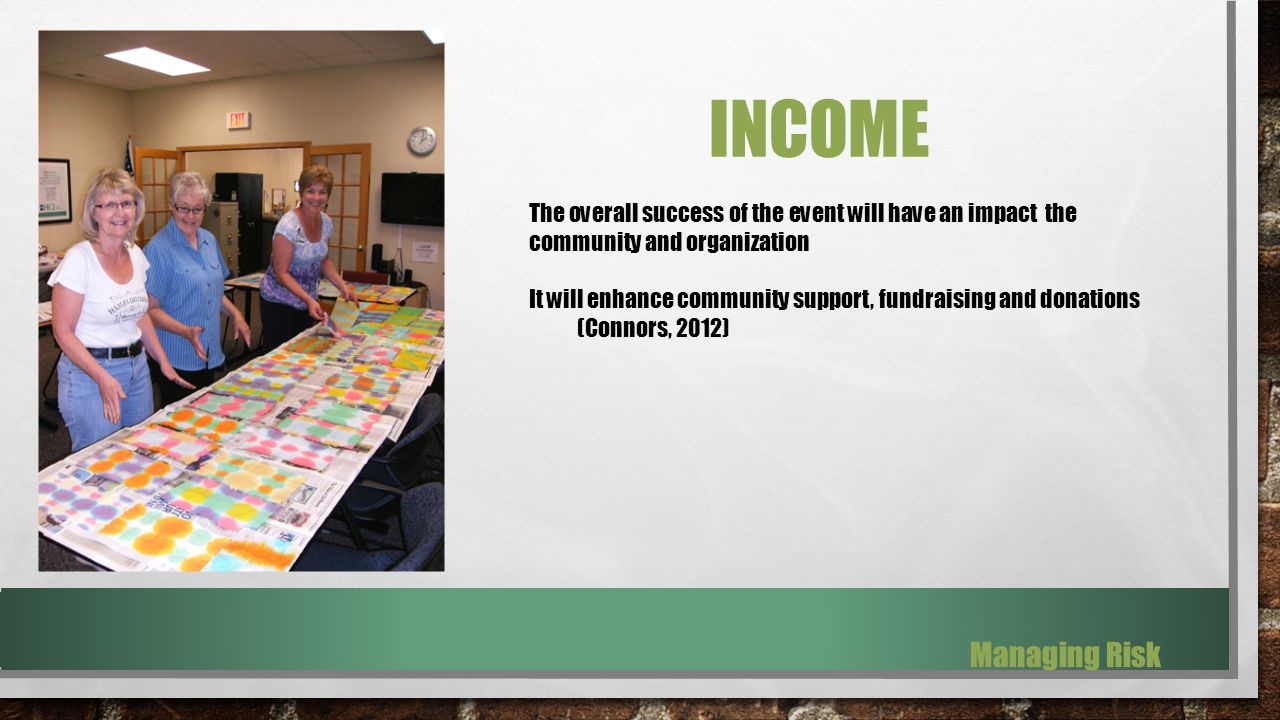 INCOME The overall success of the event will have an impact the community and organization It will enhance community support, fundraising and donations (Connors, 2012) Managing Risk
