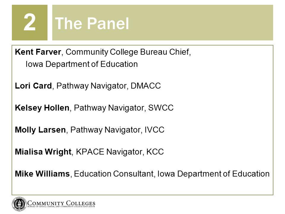 The Panel Kent Farver, Community College Bureau Chief, Iowa Department of Education Lori Card, Pathway Navigator, DMACC Kelsey Hollen, Pathway Navigat