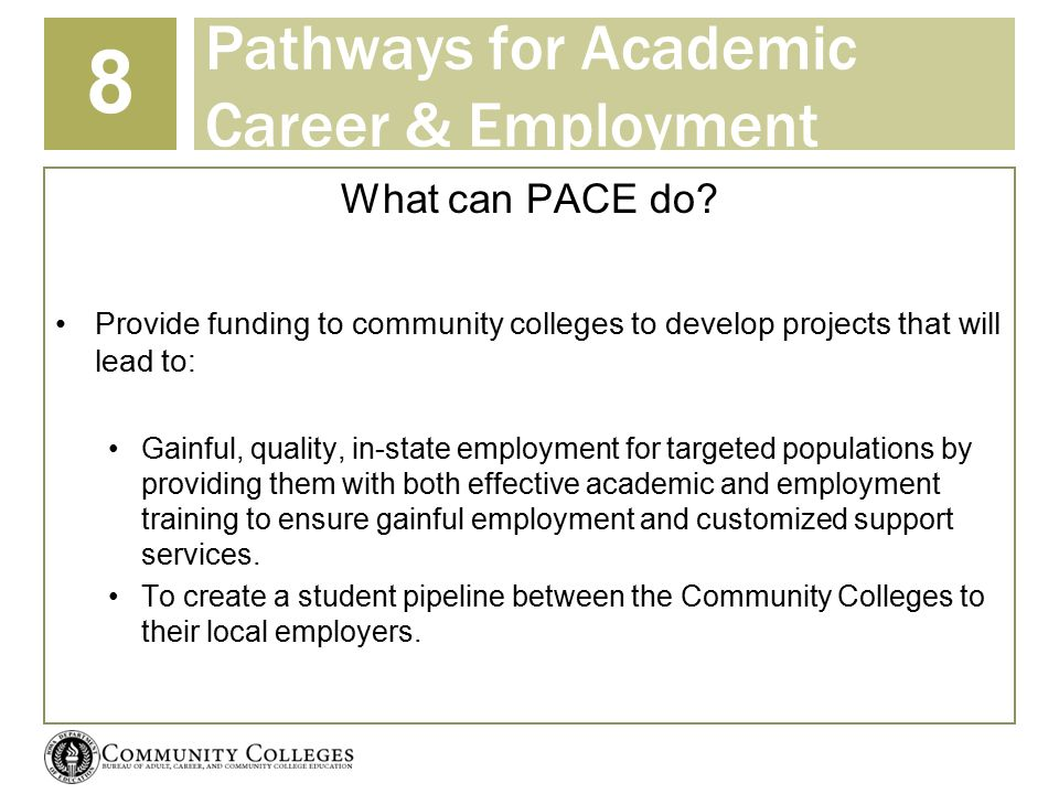 Pathways for Academic Career & Employment 8 What can PACE do.