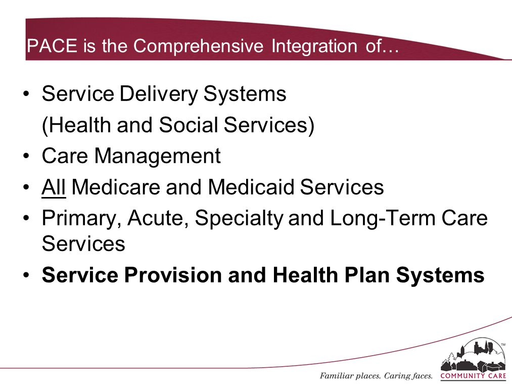 PACE is the Comprehensive Integration of… Service Delivery Systems (Health and Social Services) Care Management All Medicare and Medicaid Services Pri