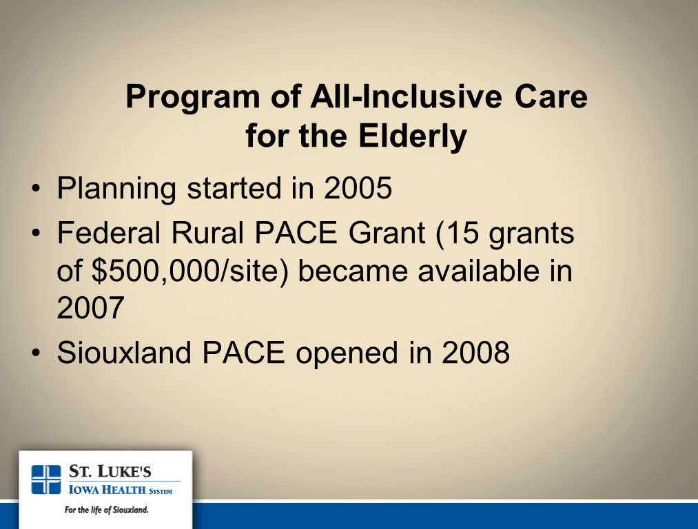 Program of All-Inclusive Care for the Elderly Planning started in 2005 Federal Rural PACE Grant (15 grants of $500,000/site) became available in 2007 Siouxland PACE opened in 2008