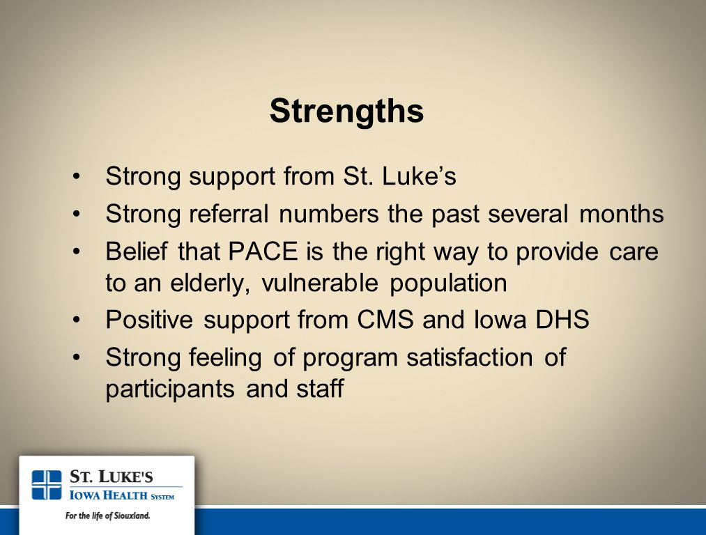 Strengths Strong support from St. Luke's Strong referral numbers the past several months Belief that PACE is the right way to provide care to an elder
