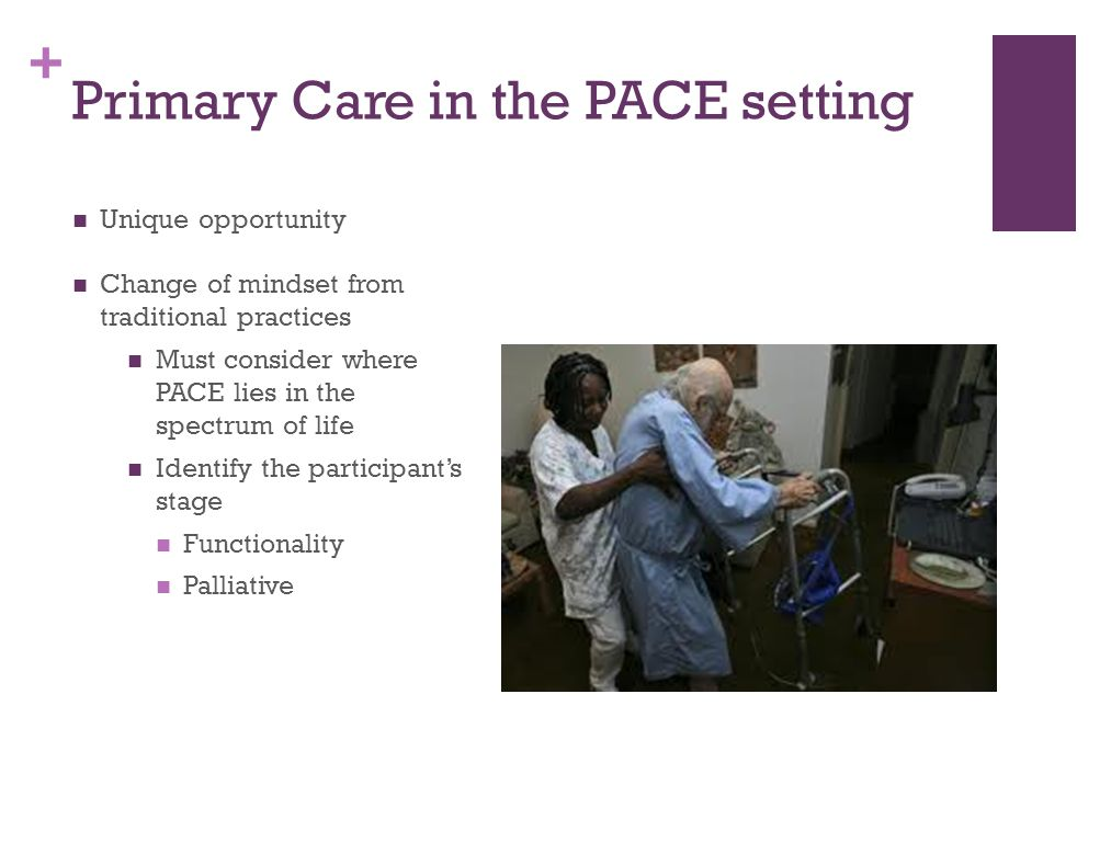 + Primary Care in the PACE setting Unique opportunity Change of mindset from traditional practices Must consider where PACE lies in the spectrum of life Identify the participant's stage Functionality Palliative