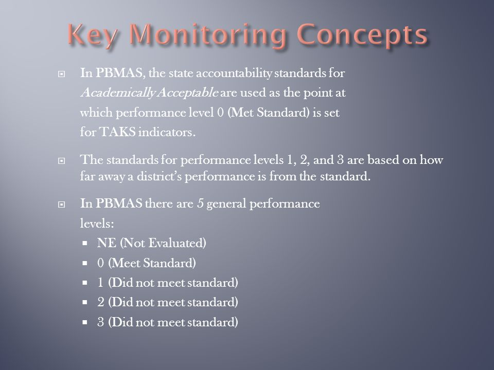  In PBMAS, the state accountability standards for Academically Acceptable are used as the point at which performance level 0 (Met Standard) is set fo