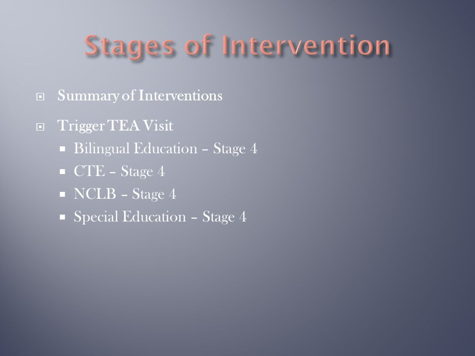  Summary of Interventions  Trigger TEA Visit  Bilingual Education – Stage 4  CTE – Stage 4  NCLB – Stage 4  Special Education – Stage 4