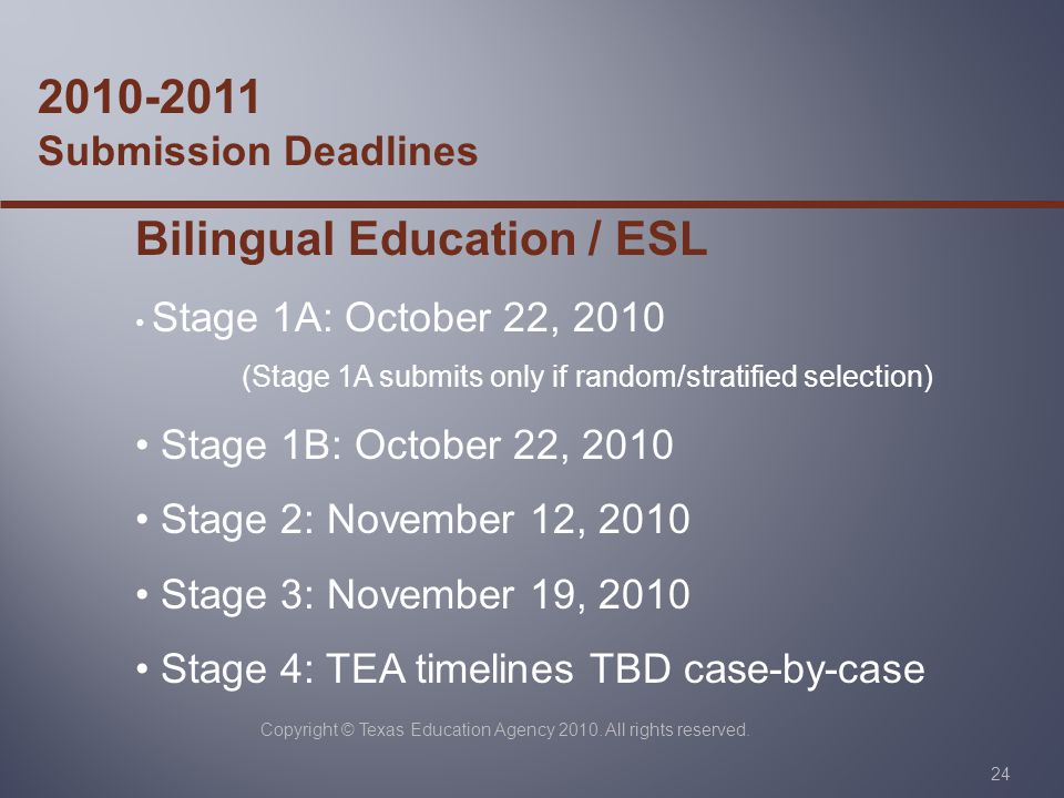 Copyright © Texas Education Agency 2010. All rights reserved. 24 2010-2011 Submission Deadlines Bilingual Education / ESL Stage 1A: October 22, 2010 (