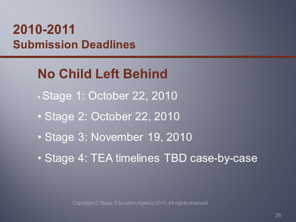 Copyright © Texas Education Agency 2010. All rights reserved.