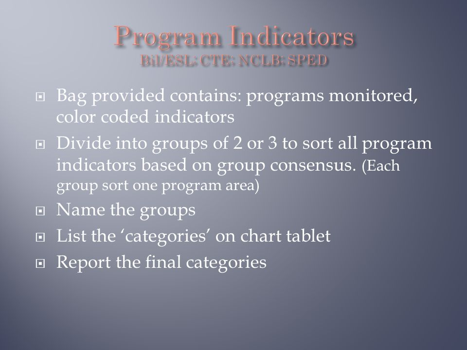  Bag provided contains: programs monitored, color coded indicators  Divide into groups of 2 or 3 to sort all program indicators based on group consensus.