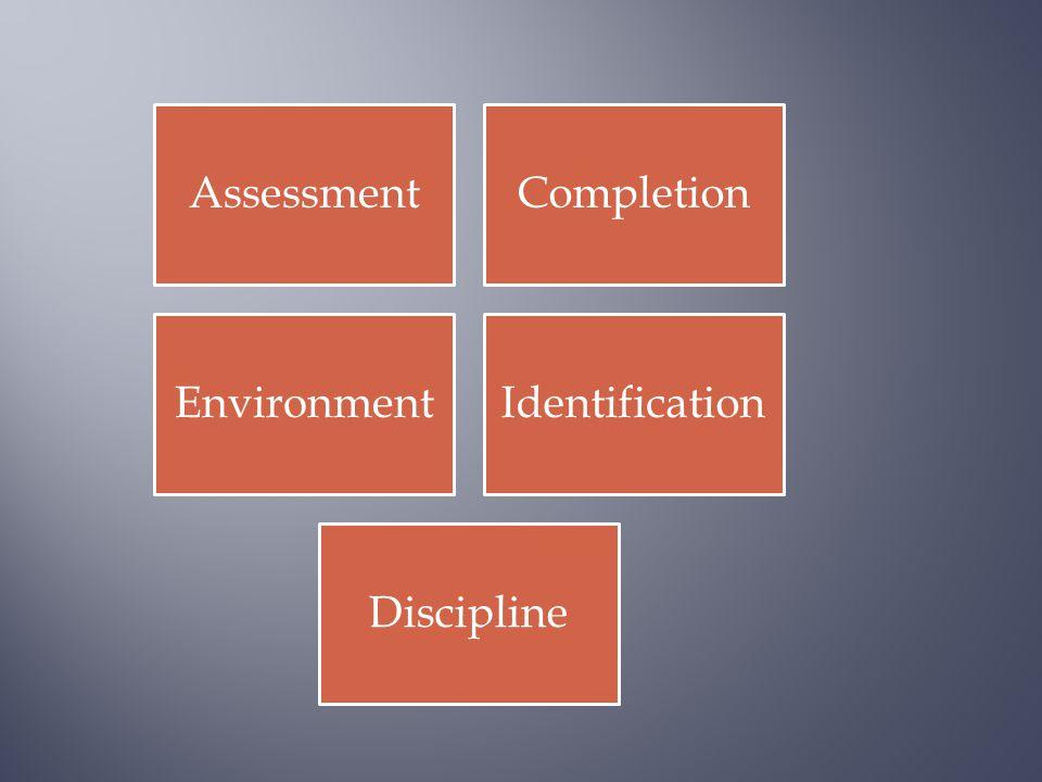 AssessmentCompletion EnvironmentIdentification Discipline