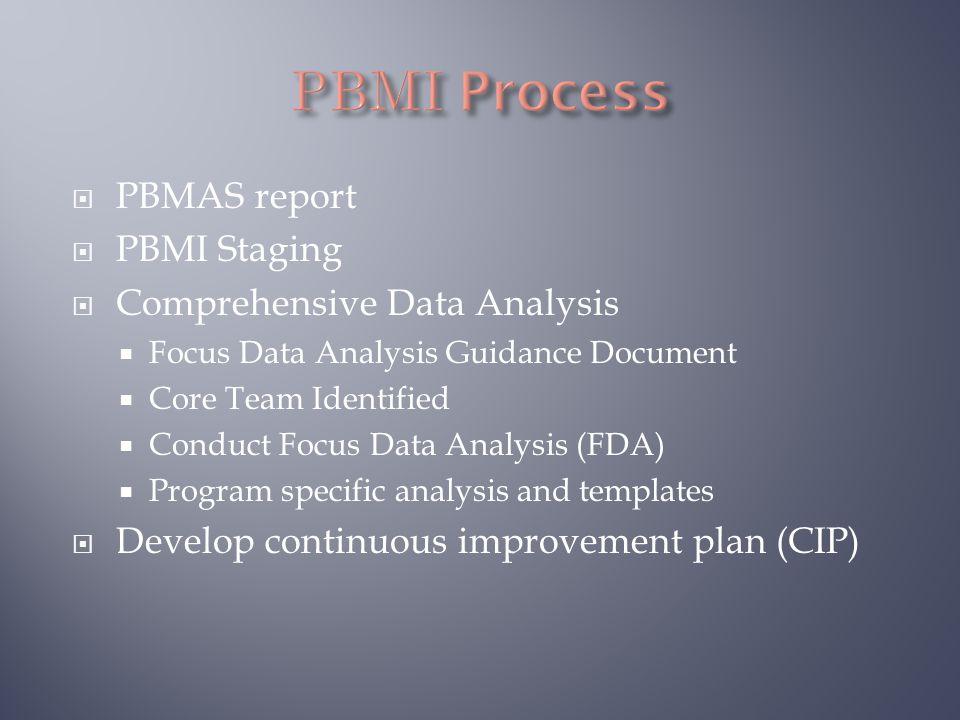 PBMAS report  PBMI Staging  Comprehensive Data Analysis  Focus Data Analysis Guidance Document  Core Team Identified  Conduct Focus Data Analys