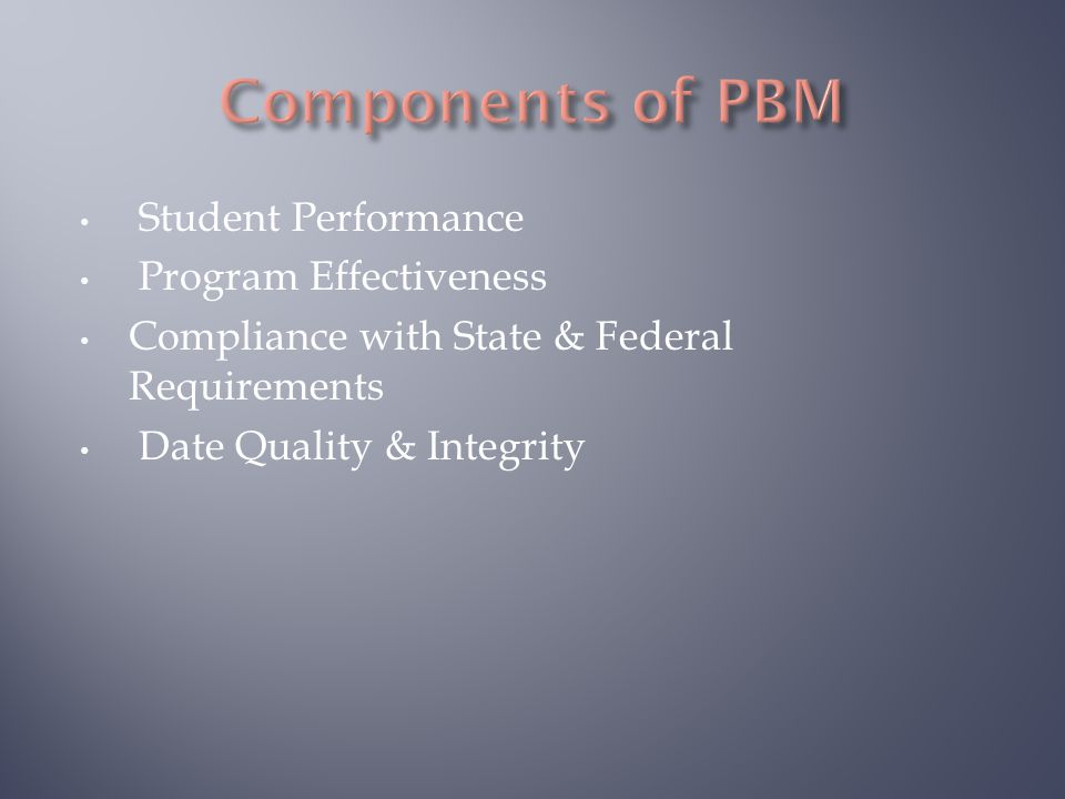Student Performance Program Effectiveness Compliance with State & Federal Requirements Date Quality & Integrity