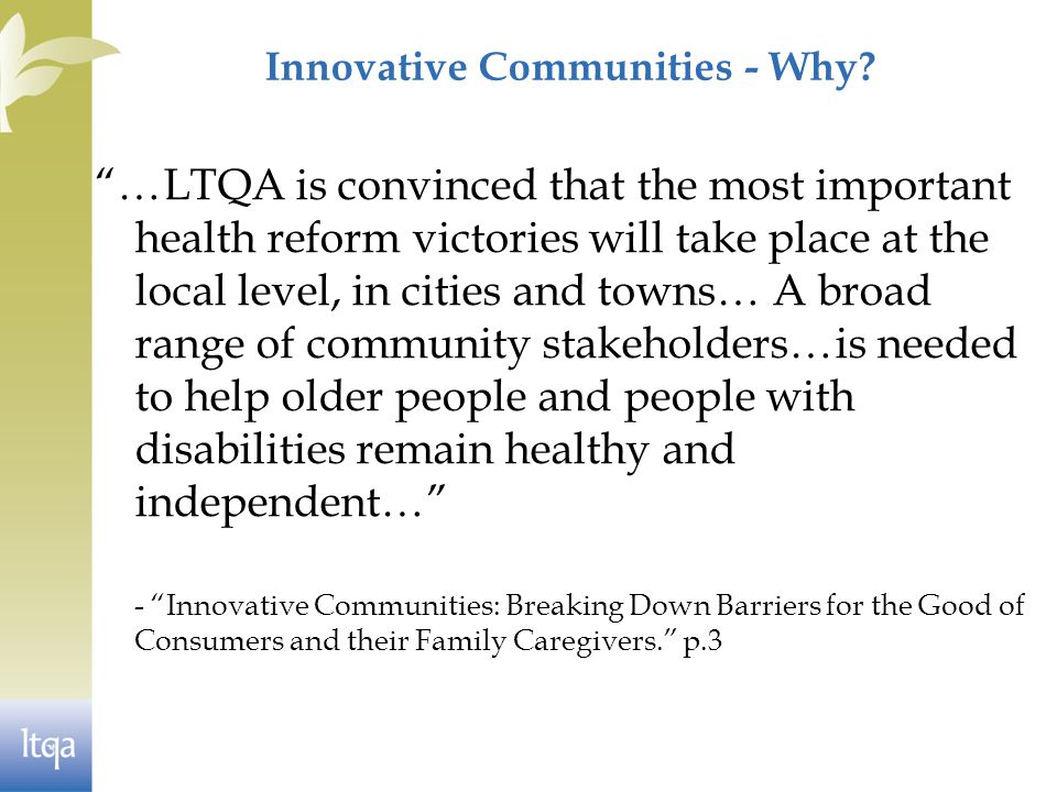 Innovative Communities - Why.
