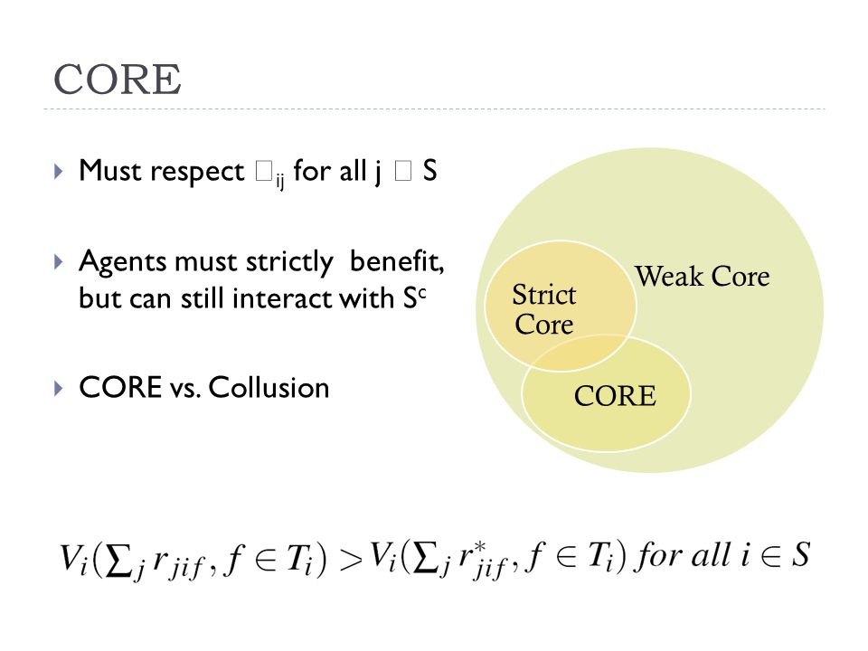 CORE  Must respect  ij for all j  S  Agents must strictly benefit, but can still interact with S c  CORE vs.