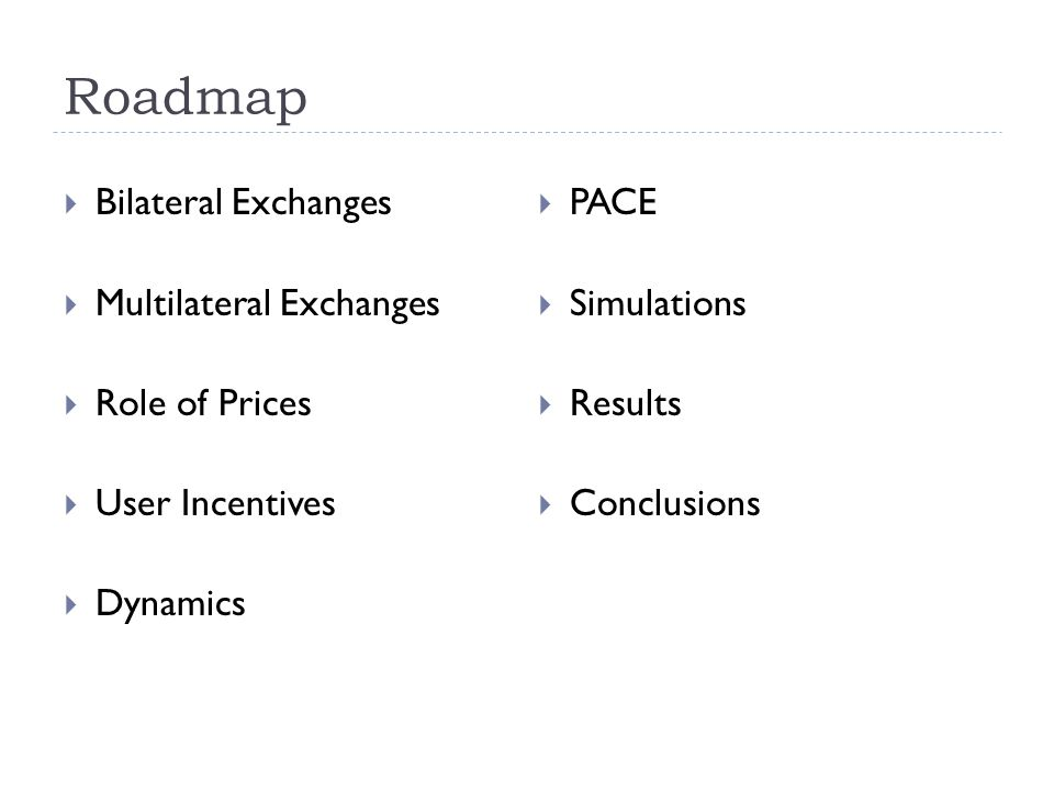 Roadmap  Bilateral Exchanges  Multilateral Exchanges  Role of Prices  User Incentives  Dynamics  PACE  Simulations  Results  Conclusions