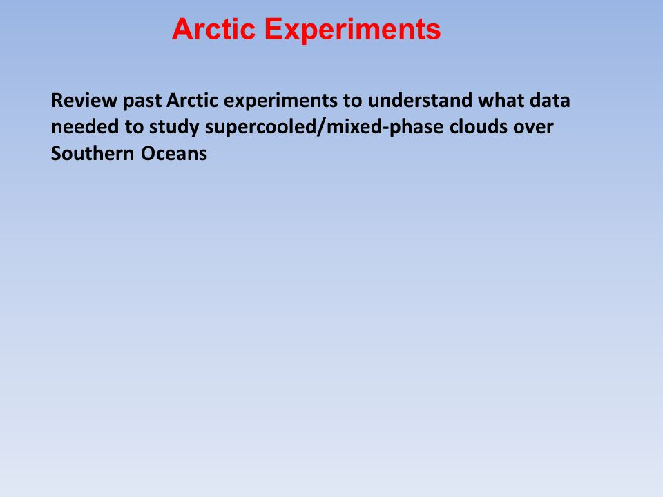 Review past Arctic experiments to understand what data needed to study supercooled/mixed-phase clouds over Southern Oceans Arctic Experiments