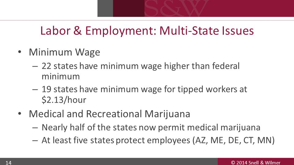 © 2014 Snell & Wilmer 14 Labor & Employment: Multi-State Issues Minimum Wage – 22 states have minimum wage higher than federal minimum – 19 states hav