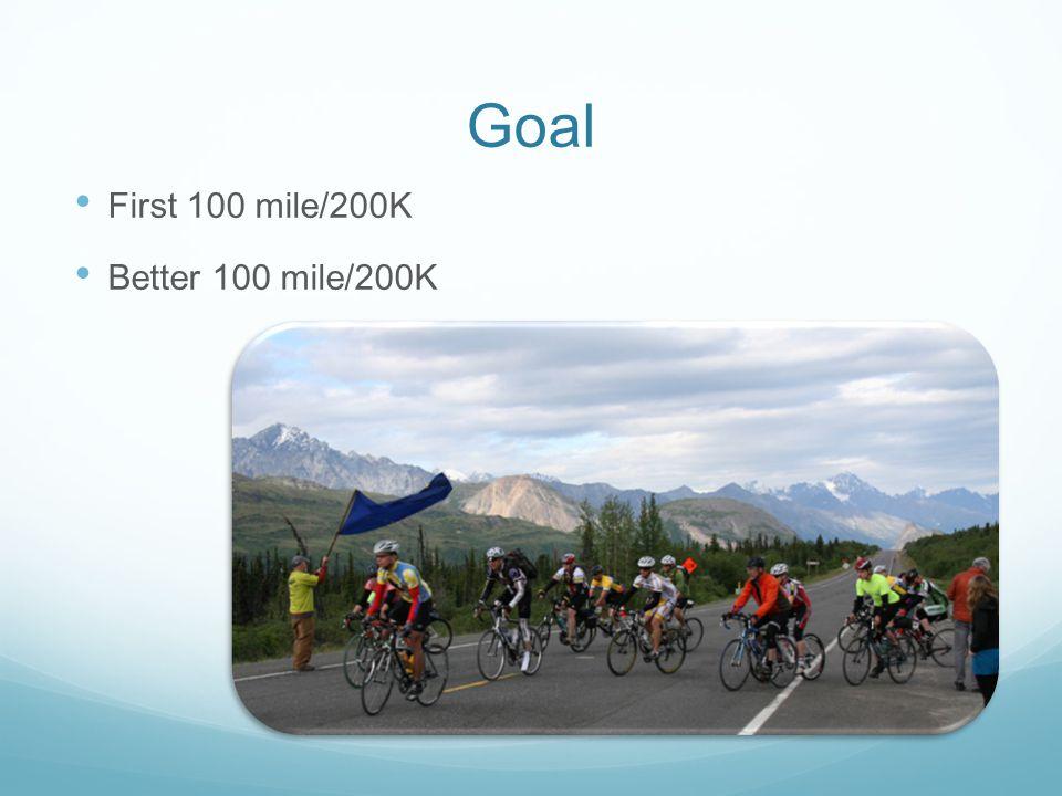 Goal First 100 mile/200K Better 100 mile/200K
