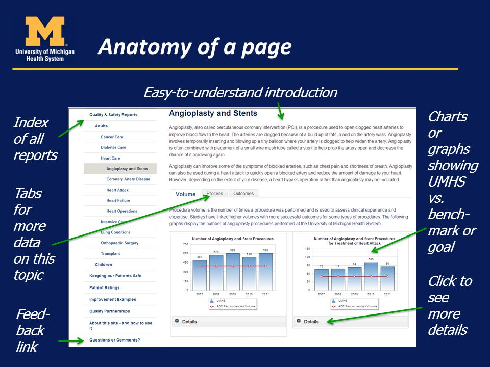 Anatomy of a page Easy-to-understand introduction Charts or graphs showing UMHS vs.
