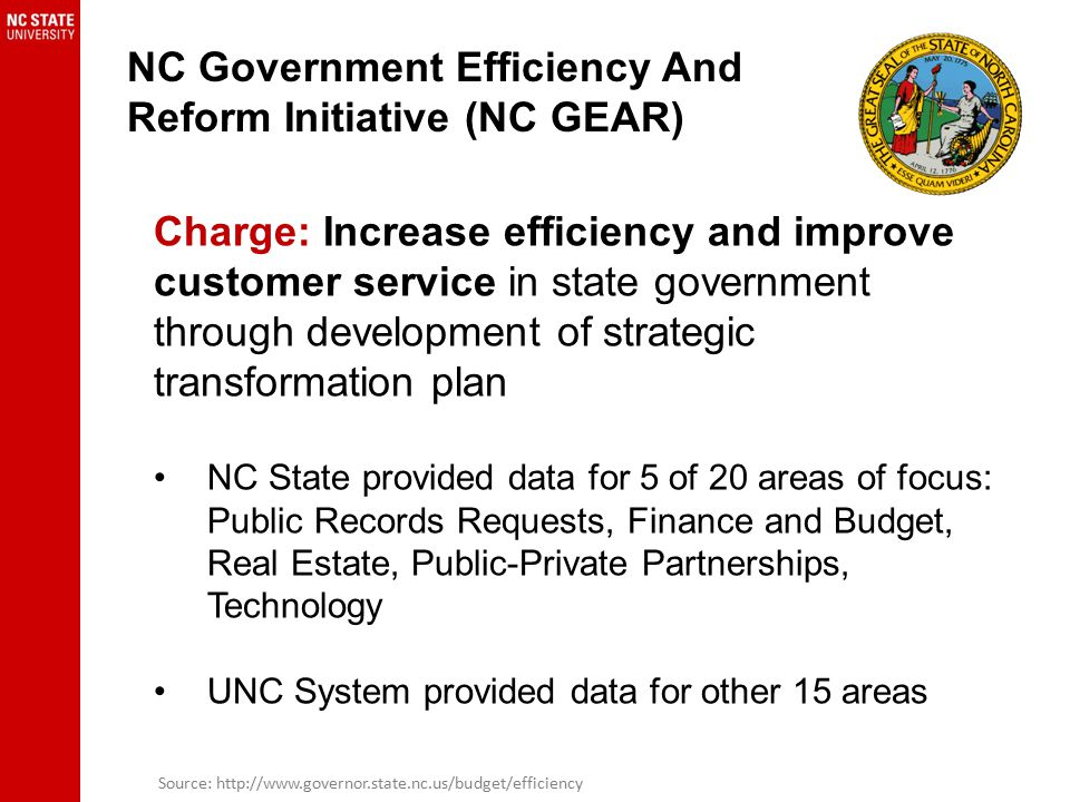 NC Government Efficiency And Reform Initiative (NC GEAR) Charge: Increase efficiency and improve customer service in state government through development of strategic transformation plan NC State provided data for 5 of 20 areas of focus: Public Records Requests, Finance and Budget, Real Estate, Public-Private Partnerships, Technology UNC System provided data for other 15 areas Source: http://www.governor.state.nc.us/budget/efficiency