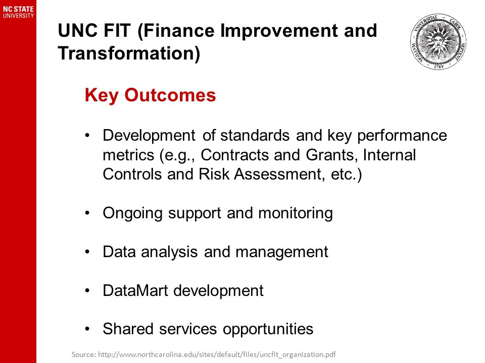 UNC FIT (Finance Improvement and Transformation) Key Outcomes Development of standards and key performance metrics (e.g., Contracts and Grants, Internal Controls and Risk Assessment, etc.) Ongoing support and monitoring Data analysis and management DataMart development Shared services opportunities Source: http://www.northcarolina.edu/sites/default/files/uncfit_organization.pdf