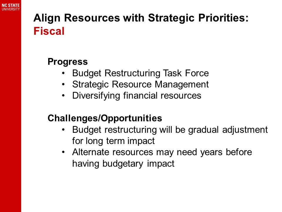 Progress Budget Restructuring Task Force Strategic Resource Management Diversifying financial resources Challenges/Opportunities Budget restructuring