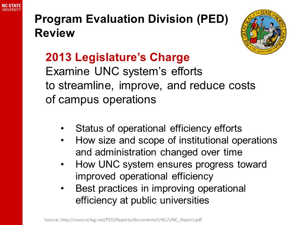 Program Evaluation Division (PED) Review Source: http://www.ncleg.net/PED/Reports/documents/UNC/UNC_Report.pdf 2013 Legislature's Charge Examine UNC s