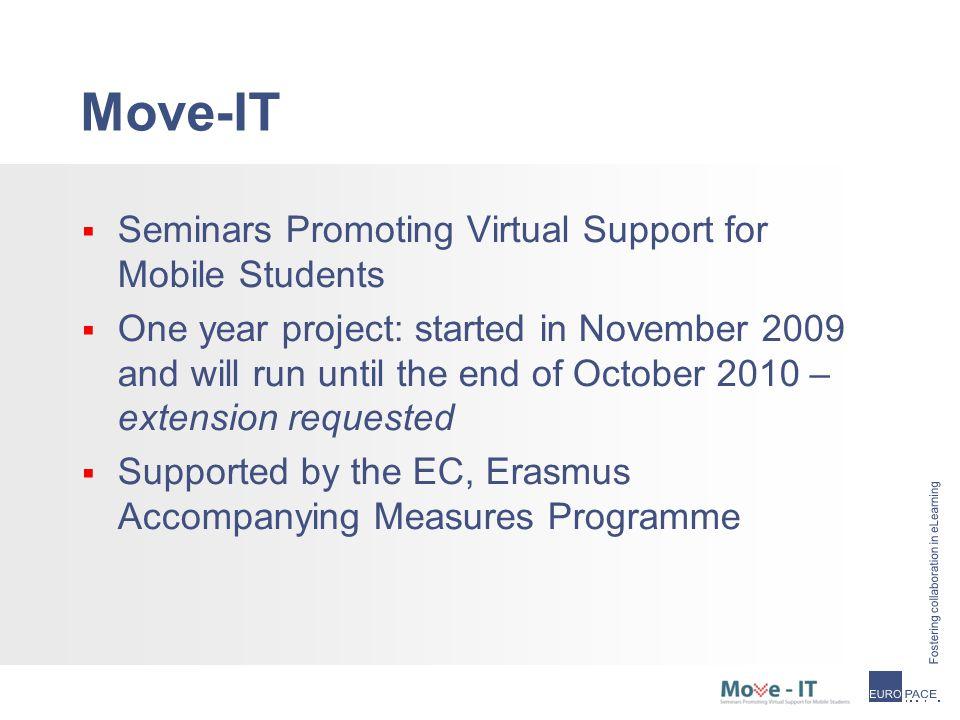 The consortium  Move-IT coordinator: 'EuroPACE ivzw'  Move-IT partners: - Coimbra Group - K.U.Leuven