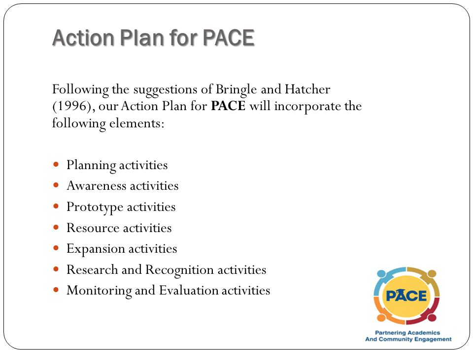 Action Plan for PACE Following the suggestions of Bringle and Hatcher (1996), our Action Plan for PACE will incorporate the following elements: Planning activities Awareness activities Prototype activities Resource activities Expansion activities Research and Recognition activities Monitoring and Evaluation activities