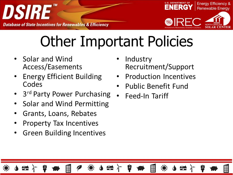 Other Important Policies Solar and Wind Access/Easements Energy Efficient Building Codes 3 rd Party Power Purchasing Solar and Wind Permitting Grants, Loans, Rebates Property Tax Incentives Green Building Incentives Industry Recruitment/Support Production Incentives Public Benefit Fund Feed-In Tariff