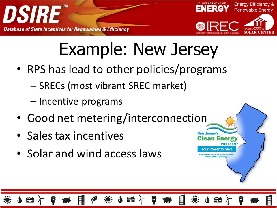 Example: New Jersey RPS has lead to other policies/programs – SRECs (most vibrant SREC market) – Incentive programs Good net metering/interconnection