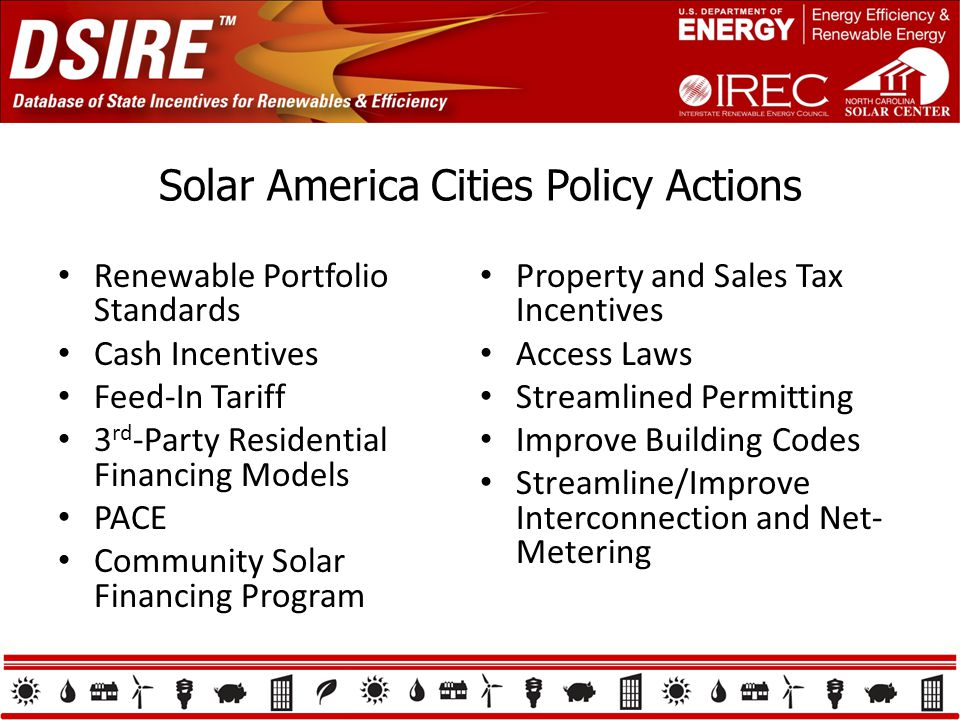 Solar America Cities Policy Actions Renewable Portfolio Standards Cash Incentives Feed-In Tariff 3 rd -Party Residential Financing Models PACE Community Solar Financing Program Property and Sales Tax Incentives Access Laws Streamlined Permitting Improve Building Codes Streamline/Improve Interconnection and Net- Metering