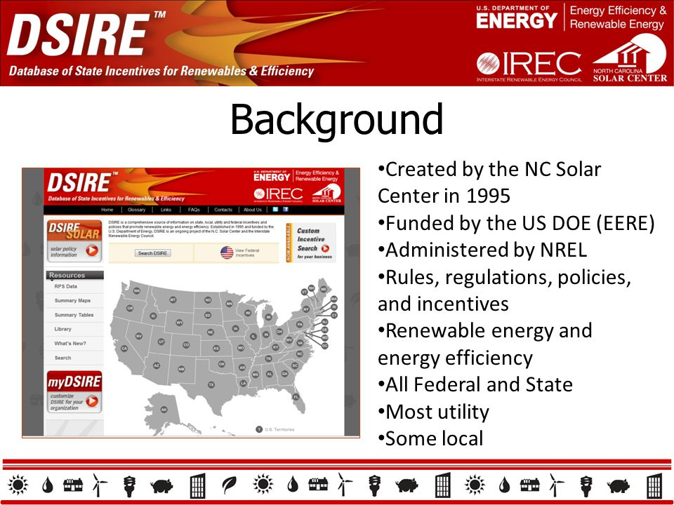 Background Created by the NC Solar Center in 1995 Funded by the US DOE (EERE) Administered by NREL Rules, regulations, policies, and incentives Renewable energy and energy efficiency All Federal and State Most utility Some local