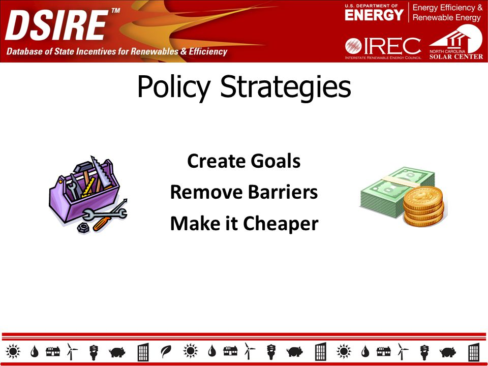 Policy Strategies Create Goals Remove Barriers Make it Cheaper