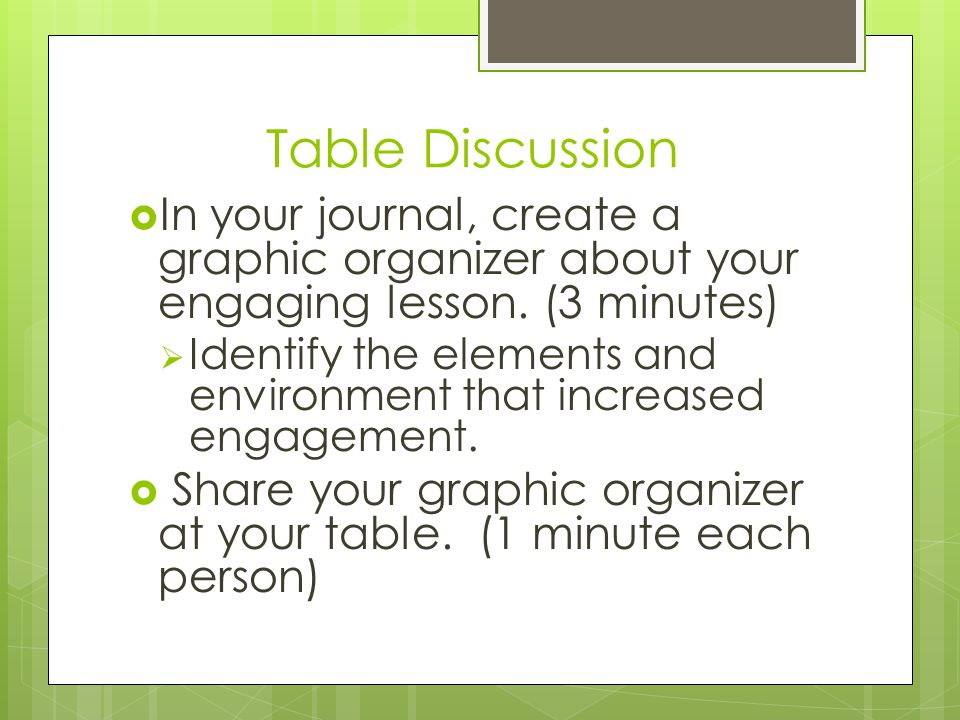 Table Discussion  In your journal, create a graphic organizer about your engaging lesson. (3 minutes)  Identify the elements and environment that in