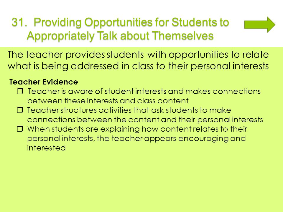 31. Providing Opportunities for Students to Appropriately Talk about Themselves The teacher provides students with opportunities to relate what is bei