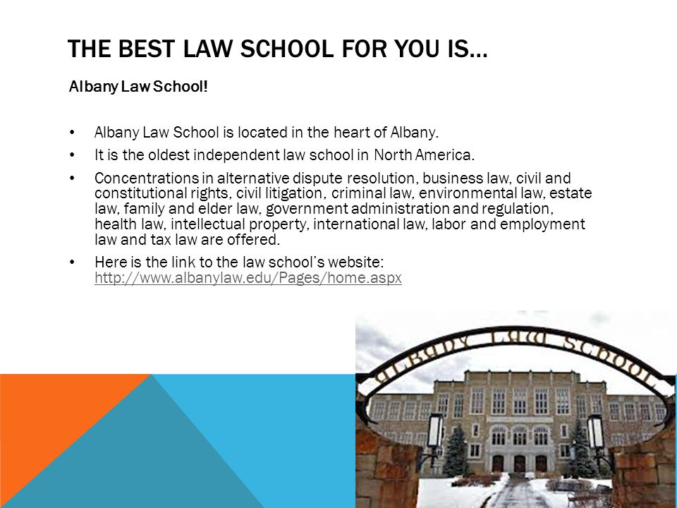 THE BEST LAW SCHOOL FOR YOU IS… Albany Law School.
